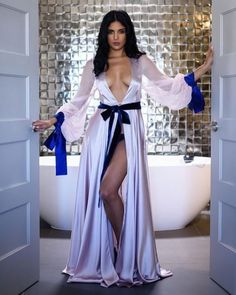 The floor-sweeping, leave-them-speechless robe that needs no proper introduction. Shop the new Victoria Full-Length Robe with the link in… Sexy Lingerie, Jolie Lingerie, Satin Lingerie, Pretty Lingerie, Bridal Lingerie, Beautiful Lingerie, Women Lingerie, Purple Lingerie, Lingerie Dress