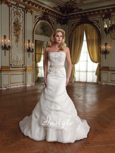 strapless organza mermaid bridal gown uk with embroidered bodice