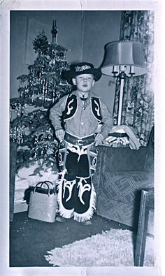 Boy in Cowboy Outfit Vintage Christmas Photo, 1950's