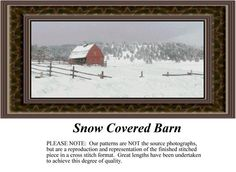 Snow Covered Barn, alluring landscapes counted cross stitch patterns, designs, charts, kits