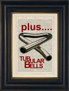 Mike Oldfields Tubular Bells  print on upcycled by ForgottenPages, $8.00