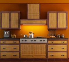 bamboo and white kitchen cabinets