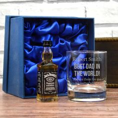 A personalised Jack Daniels gift set with a whisky tumbler and mini JD in a satin line box for fathers day.