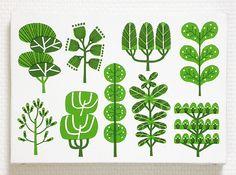 illustration by Toru Fukuda Fabric Patterns, Print Patterns, Illustrations Vintage, Morris, Plant Illustration, Tree Art, Botanical Art, Painting & Drawing, Pattern Design