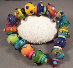 Handmade Lampwork Beads by Mona - Long Hot Bazinga - FREE SHIPPING -Enamel Lampwork Glass Beads Boho Summer 2012. $78.00, via Etsy.