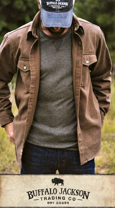No rules on how to wear this men's shirt. Here, they opted to ditch the plaid and picked up wooden buttons instead. Pretty cool. For casual fall or spring style, outfit it with jeans and boots. These shirts make great gifts for guys | dads | men who have everything.