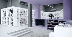 Javier Maya's gorgeous Pave Bicycle Store in Barcelona, designed by Joan Saldovar, displays bikes as art.