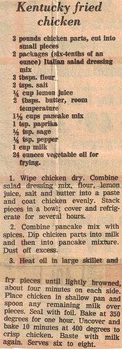 Kentucky Fried Chicken - KFC recipe newspaper clipping from 1977 Old Recipes, Vintage Recipes, Meat Recipes, Cooking Recipes, Recipies, Turkey Recipes, Radish Recipes, Retro Recipes, Copycat Recipes Kfc