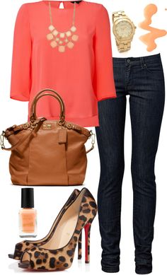 """Coral and peach"" by bbs25 ❤ I like everything but the animal print, I would go with a brown or nude pump."