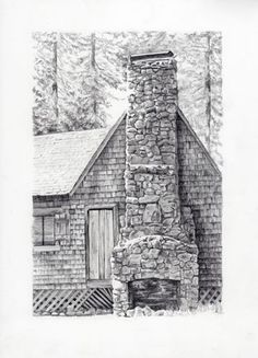 Wilsonia cabin pencil drawing to appear in the upcoming Cabin drawings