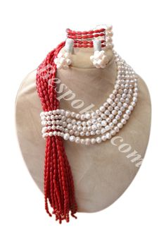Coral & Pearl Necklace set - Bespokiet.com