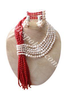 Coral & Pearl Necklace set - Bespokiet.com
