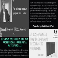 """Alta Waterford LLC is a business consulting company that hires management analysts or business consultants. These professionals are ready to help you manage, organize, plan, and make successful strategies for your enterprise's growth! """"Hit The Save Button & Follow Us"""" #AltawaterfordllcWordpress #Helpyoutogrow #Altawaterfordllc #ConsultingAgency  #AltaWaterford Consulting Companies, Consulting Firms, Economic Environment, Essential Questions, Business Organization, New Market, Business School, Organize, Wordpress"""