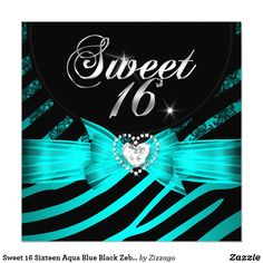 Sweet 16 Sixteen Aqua Blue Black Zebra Card Sweet 16 Sixteen Teal Blue Zebra Animal Black Lace Glitz Glam Diamonds Hearts Aqua Teal Blue & Blue Turquoise Celebrations Invitation modern girly Formal Use for any event invitation Customize to change or add details. All Occasions Fabulous Elegant Events for Girls, Party Invites for all ages, just customize to the age you want! Affordable, Cheap but classy! Zizzago created this design PLEASE NOTE all images are NOT Diamonds Jewels or real Bows!!