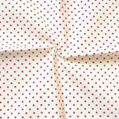 Baumwollstoff  Tupfen klein  Farbe Weiss-Rot