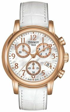 Tissot White Leather Chronograph Ladies Watch T0502173611200