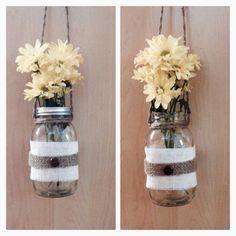 Hanging mason lantern Large Ball mason jar Twine harness; 15 inch Fray glued White burlap Brown burlap ribbon Brown wood button *Lids included *Tea