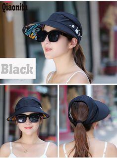 fe2707c57d90e 2017 Summer Women s Wide Brim Beach Sun Hat Fashion Foldable Visor Cap  Outdoor Anti UV Cap and adjustable cap-in Sun Hats from Women s Clothing ...