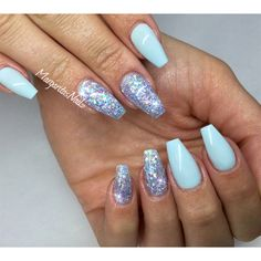 Sky Blue Coffin Nails with Light Blue Glitter