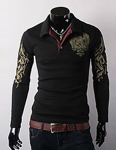 Spring and Autumn Men's Eagle Printing Slim Long Sleeved Pullovers Lapel Collar Polo Shirt-in Casual Shirts from Apparel & Accessories on Al. Long Sleeve Polo, Long Sleeve Shirts, Cool Shirts For Men, Men Shirts, Shirt Men, Printed Polo Shirts, Rock Shirts, Tee Shirt Homme, Unisex