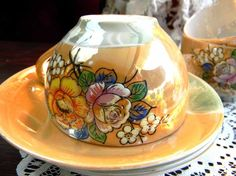 3 Japanese Lusterware Tea Cups Teacups and Saucers Stunning, Decorative & Collectible Beautiful IridescenT Cups: 2 tall 1 base 4 across to handle Saucers: 5 diameter Actual age unknown, no chips, cracks or crazing. Japanese Egg, Vintage Cups, China Tea Cups, Egg Shells, Tea Parties, Tea Sets, Orange, Yellow, Tapestries