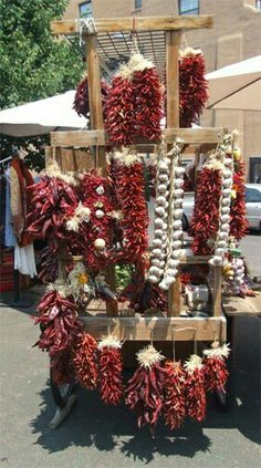 Grandma Bustos used to make Ristas for drying & make chili for her family. Red chile ristras, inherent part of our culture in NM New Mexico Style, New Mexico Homes, New Mexico Usa, Mexico Food, New Mexico Santa Fe, Santa Fe Nm, Travel New Mexico, Albuquerque News, Santa Fe Style