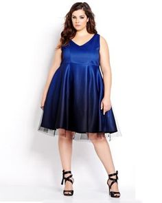New Noir Ombre Crinoline Fit and Flare Dress