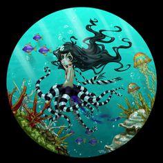Maxine The OctoMaid by Roy-Flowers on DeviantArt Character Art, Character Design, Fanart, Mermaid Under The Sea, Photoshop, Fantasy Photography, Merfolk, Mermaid Art, Tentacle