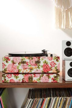 New floral print Crosley USB record player. Sweet.