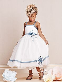 Alfred Angelo Style 6667 (front): satin and net tea length flower girl dress featuring flowers, sequins, rhinestones and crystal beading