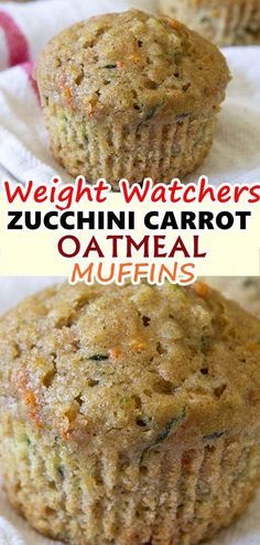 Weight watchers muffins - Zucchini Carrot Oatmeal Muffins, made with whole wheat and golden raisins, are the perfect option for a healthy, wholesome and delicious breakfast or snack zucchini carrot oatmeal muffins Skinnyrec Weight Watchers Zucchini, Weight Watcher Desserts, Weight Watcher Muffins, Weight Watchers Breakfast, Weight Watchers Snacks, Skinny Recipes, Ww Recipes, Cooking Recipes, Healthy Recipes