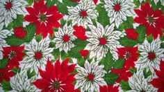 VINTAGE-CHRISTMAS-RED-WHITE-POINSETTIAS-HOLLY-BERRY-TABLECLOTH