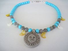 Sun and Moon Celestial Necklace by MissBusyBeeJewelry on Etsy, $26.00