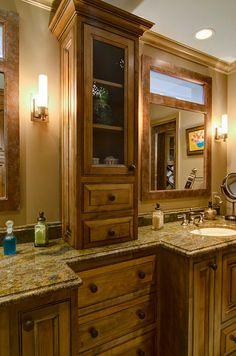 Master bath- window above mirror