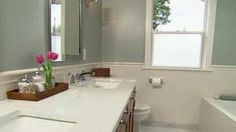 Gray/white Nicole Curtis bathroom