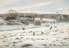 Peder Mørk Mønsted (1859-1941): Winter in Stokkebjerg, 1924