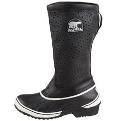Sorel Sorelli boots Sorel black perforated black leather / black rubber Sorelli Tall Boots - Insulated, Leather-Rubber Sorelli boots combine Sorel's classic vulcanized rubber waterproof lower shell with a breathable, perforated leather upper for the best blend of weather protection Breathable, perforated leather upper with non-removable felt Traction rubber outsole Excellent Condition * US 7 * GUC SOREL Shoes Winter & Rain Boots