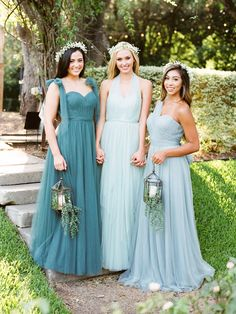 Sleeveless One Shoulder Pleated A-line Light Sky Blue Tulle Bridesmaid Dress Silver Bridesmaid Dresses, Bridesmaid Dress Colors, Wedding Dresses, Bridesmaids, Bridesmaid Ideas, Wedding Colors, Wedding Ideas, Wedding Decor, Wedding Stuff