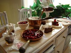 Making chocolate cherry cheesecake 1:12 by It's a miniature life...is playing with clay, via Flickr