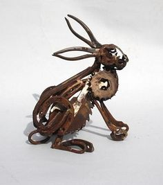 """Stan's body had worked like a piece of perfectly oiled machinery for years, but now, the rust was setting in, making him feel less cog-ni-zant.""""Cog Hare"""" by harriet mead --- artist --- made of found objects Rabbit Sculpture, Sculpture Art, Abstract Sculpture, Bronze Sculpture, Garden Sculpture, Metal Yard Art, Scrap Metal Art, Found Object Art, Found Art"""