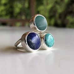 Lapis Lazuli, Turquoise and Malachite ring, gold lapis ring, blue Lapis Lazuli, naturalgemstone ring, big lapislazuli ring