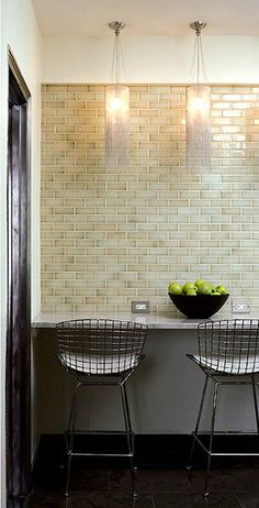A few years ago her New York apartment kitchen was remodeled with beautiful results. This small, fairly colorless space is about to get very chic. Shabby Chic Kitchen, Kitchen Decor, Kitchen Ideas, Galley Kitchens, Brick Tiles, Basement Flooring, Updated Kitchen, Apartment Kitchen, Dream Decor