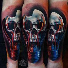 75 Light Bulb Tattoo Designs For Men - Bright Ink Ideas Bull Tattoos, Top Tattoos, Cover Up Tattoos, Tattoos For Guys, Sleeve Tattoos, Tatoos, Forearm Tattoos, Lightbulb Tattoo, Totenkopf Tattoos
