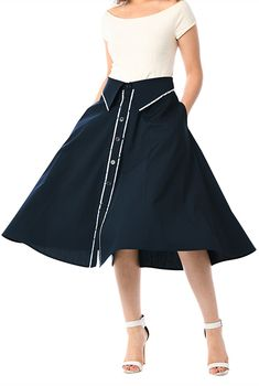 Floral print piped trim cotton poplin skirt #eShakti
