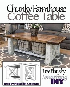 The best DIY projects & DIY ideas and tutorials: sewing, paper craft, DIY. DIY Furniture Plans & Tutorials : Step by Step guide on how to build this Chunky Farmhouse Coffee Table -Read Farmhouse Furniture, Furniture Plans, Country Furniture, Furniture Movers, Antique Furniture, Bench Furniture, Furniture Design, Furniture Dolly, Farmhouse Ideas
