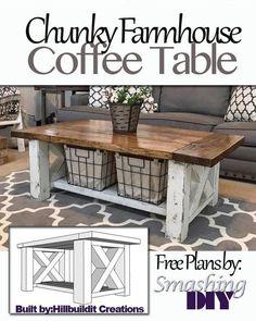 DIY Free Plans Chunky Farmhouse Coffee Table - Handmade Haven SmashingDIY