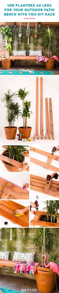 Create a jungalow seating area with this awesome DIY planter bench hack.