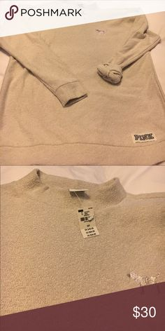 Pink Victoria Secret Sweater NWT Pink Victoria Secret Sweater it's an oatmeal color light weight Size Medium PINK Victoria's Secret Tops Sweatshirts & Hoodies