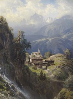 Village in the Bernese Alps, by 1885 - 38.5x28 image on 40.5x30 Paper