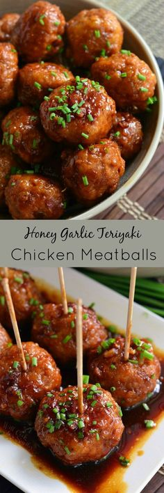 Honey Garlic Teriyaki Chicken Meatballs ~ easily made on the stove with homemade Honey Garlic Teriyaki Sauce!